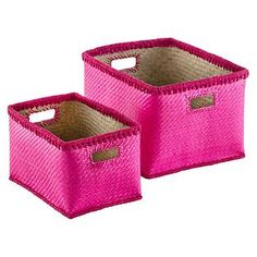 Pink Woven Palm Bins | The Container Store