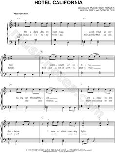 I found digital sheet music (easy piano) for Hotel California by The Eagles from 1976 at Musicnotes.