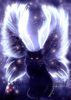 Fairy Cat Painting Art Print by Michaeline 8x10 by EnchantedCats, $15.00