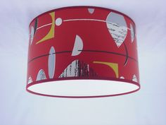 "16"" Lampshade Handmade in UK - Sanderson Red Black Mobile Wallpaper"