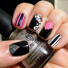 #Black#Pink#Strips#Flowers#Triangle