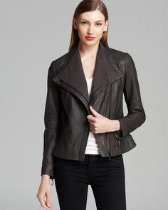 Elie Tahari Jacket - Jeanette Drape Front Leather | Bloomingdale's