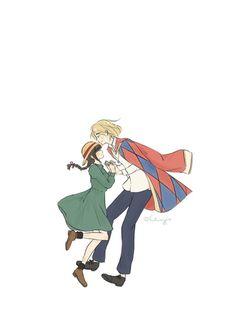 Howl's Moving Castle by Studio Ghibli Cute Couple Drawings, Cute Couple Art, Cute Drawings, Cute Cartoon Wallpapers, Animes Wallpapers, Howls Moving Castle Wallpaper, Studio Ghibli Background, Howl And Sophie, Hotarubi No Mori