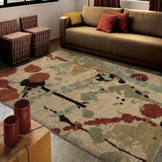Carolina Weavers Dignified Shag Collection Sprinkles Multi Shag Area Rug x - x (Beige - x Brown (Polypropylene, Abstract) Room Rugs, Area Rugs, Bonus Room Decorating, Decorating Ideas, Orange Rugs, Carpet Stains, Floor Decor, Online Home Decor Stores, Rugs Online