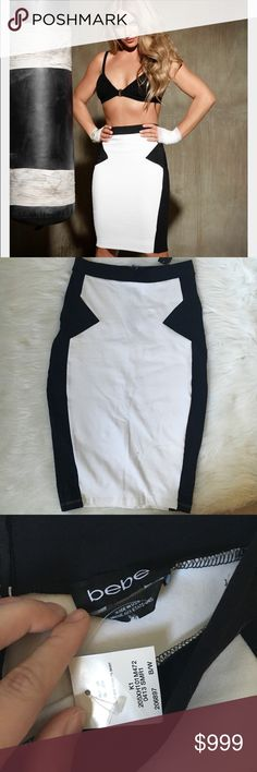 """Pencil Skirt Similar skirt to what Britney wore! White pencil skirt with black contrast panels. NWT! Reposh- just never got around to wearing it  no size, but it would fit anywhere from a 6-12. It has a TON of stretch so measurements are it just lying flat: 13"""" waist, 16.5"""" hips, 24.5"""" length. bebe Skirts Pencil"""