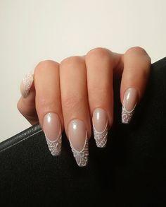 Simple Bridal Nails, Elegant Bridal Nails, Elegant Wedding, Bridal Nails Designs, Wedding Nails Design, Nail Art Designs, Wedding Nails For Bride, Bride Nails, Wedding Acrylic Nails