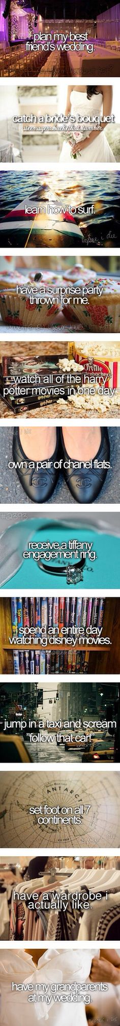 Wanna do all especially watch Harry potter. Love those and to be honest I don't care what kind of ring I get as long as its from the heart.
