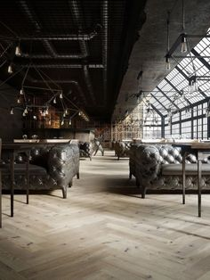 Corporate concept with classic elements in a lofty space
