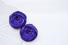 Purple Fabric Roses Handmade Appliques by BizimSupplies on Etsy, $5.00