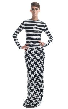 Marc Jacobs Large Stripe Sequin Georgette Gown