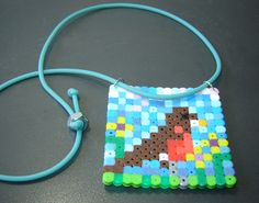 Perler necklace Robin Bird blue sky flowers door urbanwoodswalker