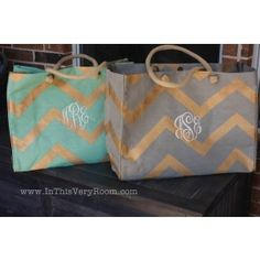 Monogrammed Chevron Jute Bags are so stylish, so practical - and simply FABULOUS!