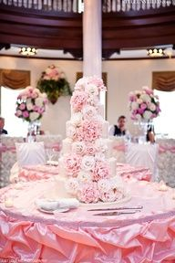 Pink Wedding Cake with Edible Flowers #celebstylewed