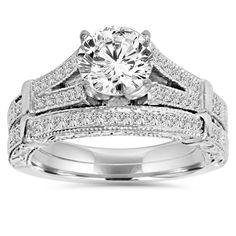 14k Gold 2 ct TDW Clarity Enhanced Diamond Vintage Engagement Wedding Ring Set