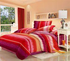 打印四件套床上用品时尚红色条纹样式的华丽