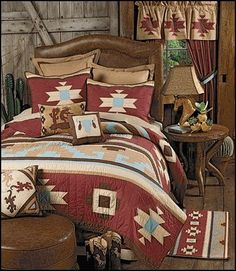Canyon Dance Southwestern Quilt This cotton bedding features the bold patterns of southwestern Native American artisans in traditional rustic reds, earth browns and turquoise.(ONE TWIN QUILT LEFT IN STOCK) Southwestern Bedroom Decor, Southwestern Home, Southwestern Decorating, American Indian Decor, Indian Home Decor, Native American Bedroom, Indian Bedroom Design, Mexican Style Decor, Home Design