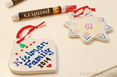 Handmade Personalized Christmas Ornaments with Paint Markers  Good for the crosses. I wonder if the church has any paint markers. I have one... white =(.