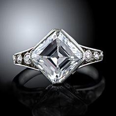 2.84 Carat 'D' 'IF' 'Golconda' Edwardian Asscher-Cut Diamond Ring