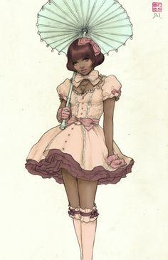Lolita Dark Skin / Tan Lolita Anime  Black Anime Girl Character  africanamericananime- tumblr
