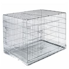SmithBuilt Folding Silver Dog Crate w/ Metal Tray Pan - Double Door - Multiple Sizes Available -- Hurry! Check out this great product (This is an amazon affiliate link. I may earn commission from it)