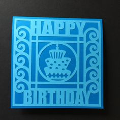 Die Cut Happy Birthday Aqua Card by LoveDebbiesDesigns on Etsy