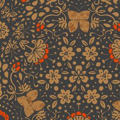 Garden's Fury in Tangerine - © Lucinda Wei fabric by simboko on Spoonflower - custom fabric