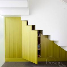 Staircase Photos Under Stairs Design, Pictures, Remodel, Decor and Ideas Stair Shelves, Staircase Storage, Stair Storage, Hidden Storage, Staircase Design, Ceiling Shelves, Shelving, Dvd Storage, Pantry Storage