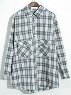 Blue Lapel Long Sleeve Plaid Pockets Blouse