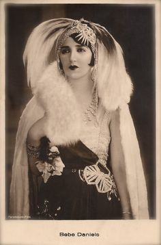 Miss Bebe Daniels, Famous Hollywood American Silent Film Actress Gorgeous Glamour Portrait with Headdress Original RARE 1920s Photo Postcard