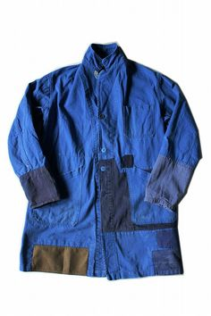 French vintage patched work coat/France 1960's/cotton/blue/patchwork/hand stitched/257