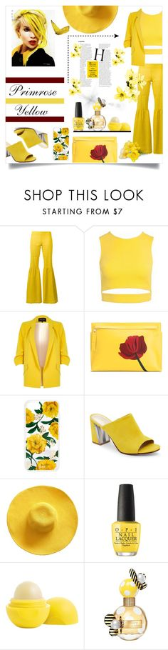"""Color of Fashion - Primrose Yellow!"" by allyssister ❤ liked on Polyvore featuring Daizy Shely, Sans Souci, River Island, Loewe, Sonix, Nine West, OPI, Eos and Marc Jacobs"