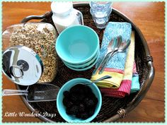 make a breakfast tray for your kids so they can get their own breakfast
