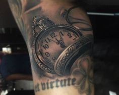 Chronic Ink Tattoo - Toronto Tattoo Pocket watch tattoo done by guest artist Sergey. Arm Tattoo, Piercing Tattoo, Piercings, Compass Tattoo, Tattoo Art, Baby Tattoos, Time Tattoos, Tatoos, Best Sleeve Tattoos