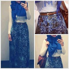 Blue Hijab |  TIP: Use white top on print skirt) |  tags: hijab fashion, hijab outfit, hijab style, hijab inspiration
