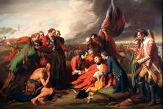 The Death of General Wolfe is a well-known 1770 painting by Anglo-American artist Benjamin West depicting the death of British General James Wolfe at the 1759 Battle of Quebec during the French and Indian War . It is an oil on canvas of the Enlightenment period. West made an additional and nearly identical painting of the same scene for King George III in 1771