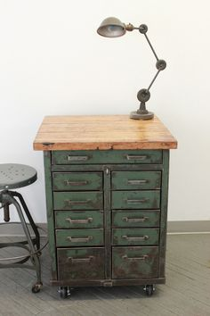 vintage+workbenches | Vintage Industrial Workbench Kitchen Island Rolling Tool Cabinet Cart ...