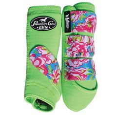 SMB Elite Sports Medicine Boot, Western Tack, Horse protection, aqha, Blossom/Lime