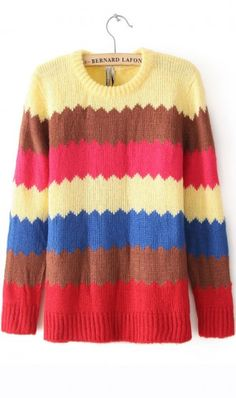 Colorful zigzag striped sweater. keep you warm