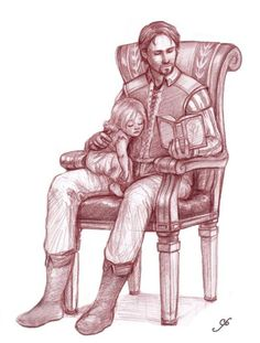 Dragon age: Bryce Cousland with his daughter, which is the next Gray guardian.