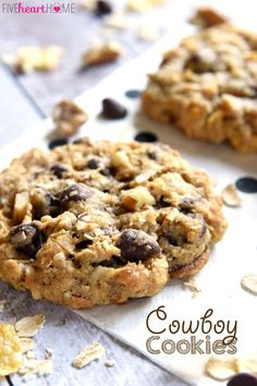 Cowboy Cookies ~ soft, chewy, and loaded with different flavors and textures from oats and coconut to chocolate chips and pecans   FiveHeartHome.com