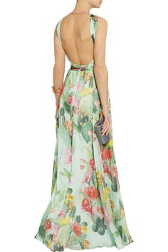 Multicolored printed silk-chiffon Keyhole front, pleated bodice, fully lined Concealed zip fastening along back 100% silk Dry clean