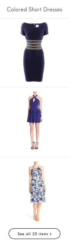 """""""Colored Short Dresses"""" by shadow2014 ❤ liked on Polyvore featuring dresses, vestiti, studded dress, herve leger dress, stretchy dresses, navy blue dress, navy dress, apparel & accessories, orient blue and short blue dresses"""