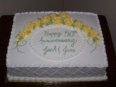 Wedding Anniversary Yellow Butter cake with all buttercream icing and decorations. Sheet Cake Designs, Cupcake Cake Designs, Cupcake Art, Golden Anniversary Cake, 50th Anniversary Cakes, Rehearsal Dinner Cake, Pastel Rectangular, Wedding Sheet Cakes, 50th Wedding Anniversary Decorations