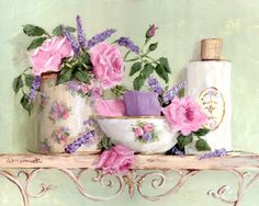 PRINT ON PAPER - Roses and Lavender Bathroom - FREE Shipping WORLD WIDE