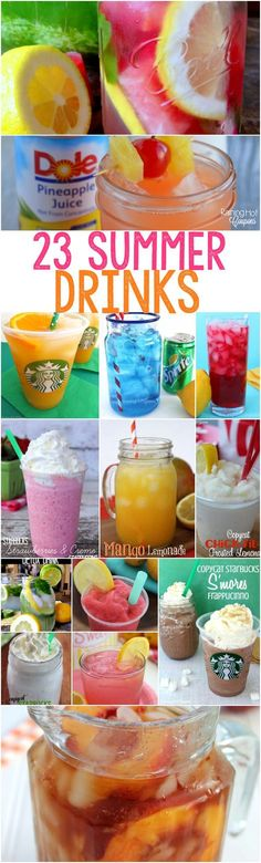 Fantastic 23 Refreshing Drink Recipes for Summer These Summer drink recipes are perfect for a hot daythey are sweet and easy to make! The post 23 Refreshing Drink Recipes for Summer These Summer drink recipes are perfect for a hot daythey are sweet and e Refreshing Drinks, Fun Drinks, Yummy Drinks, Healthy Drinks, Yummy Food, Party Drinks, Cold Drinks, Sonic Drinks, Summer Beverages