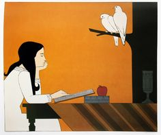 """Will Barnet was an American artist known for his paintings, watercolors, drawings, and prints depicting the human figure and animals, both in casual scenes of daily life and in transcendent dreamlike worlds. (Wikipedia) (""""Introspection"""" by Will Barnet) Sale Artwork, Original Prints, Barnet, Illustration, Serigraph, Drawings, Art, Book Art, American Artists"""