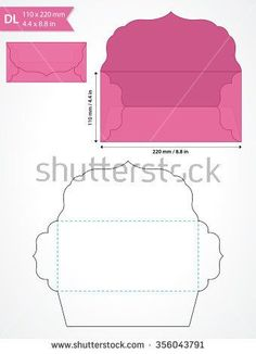 Die cut vector envelope template with swirly flap. - stock vector Die cut vector envelope template with swirly flap. Envelope Diy, Origami Envelope, Envelope Punch Board, Envelope Templates, Diy Gift Box, Diy Box, Diy Gifts, Invitation Envelopes, Card Envelopes