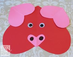 Valentine's Day heart-shaped animal crafts for kids pig