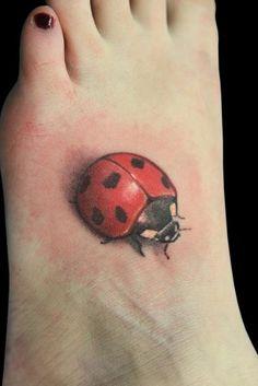 ladybug tattoo-I love the shading on this how it has depth!