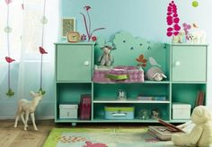 beautiful vintage baby room design mint green shelves toys